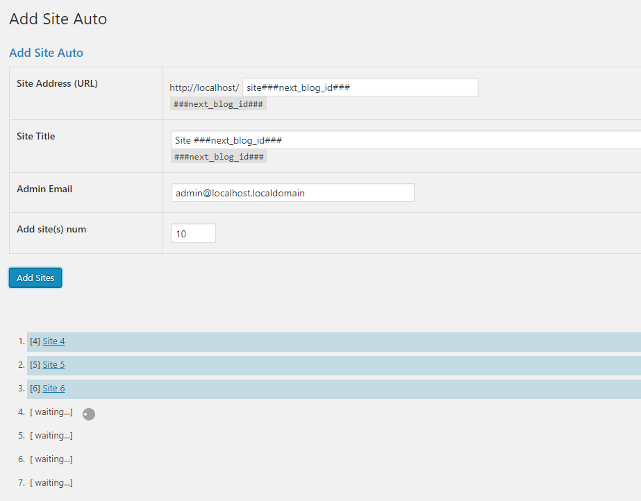 Add-on Add Site Auto Setting Screen