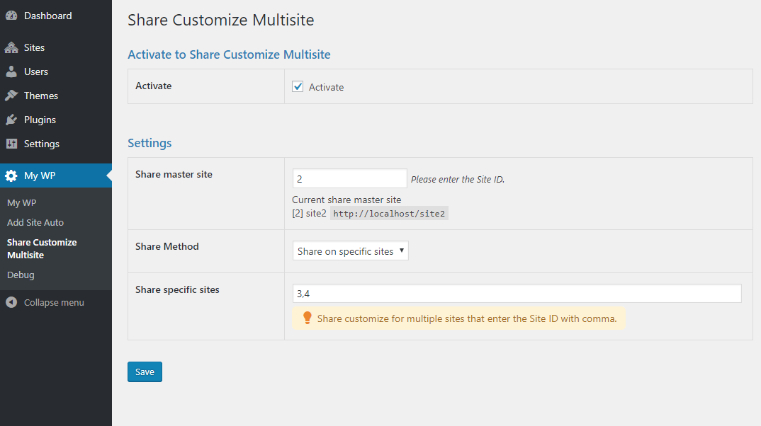 Add-ons Share Customize Multisite Setting Screen