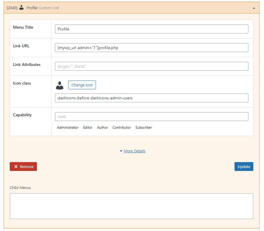 Admin sidebar User profile menu item