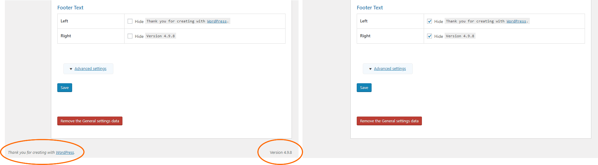 Footer text Admin General